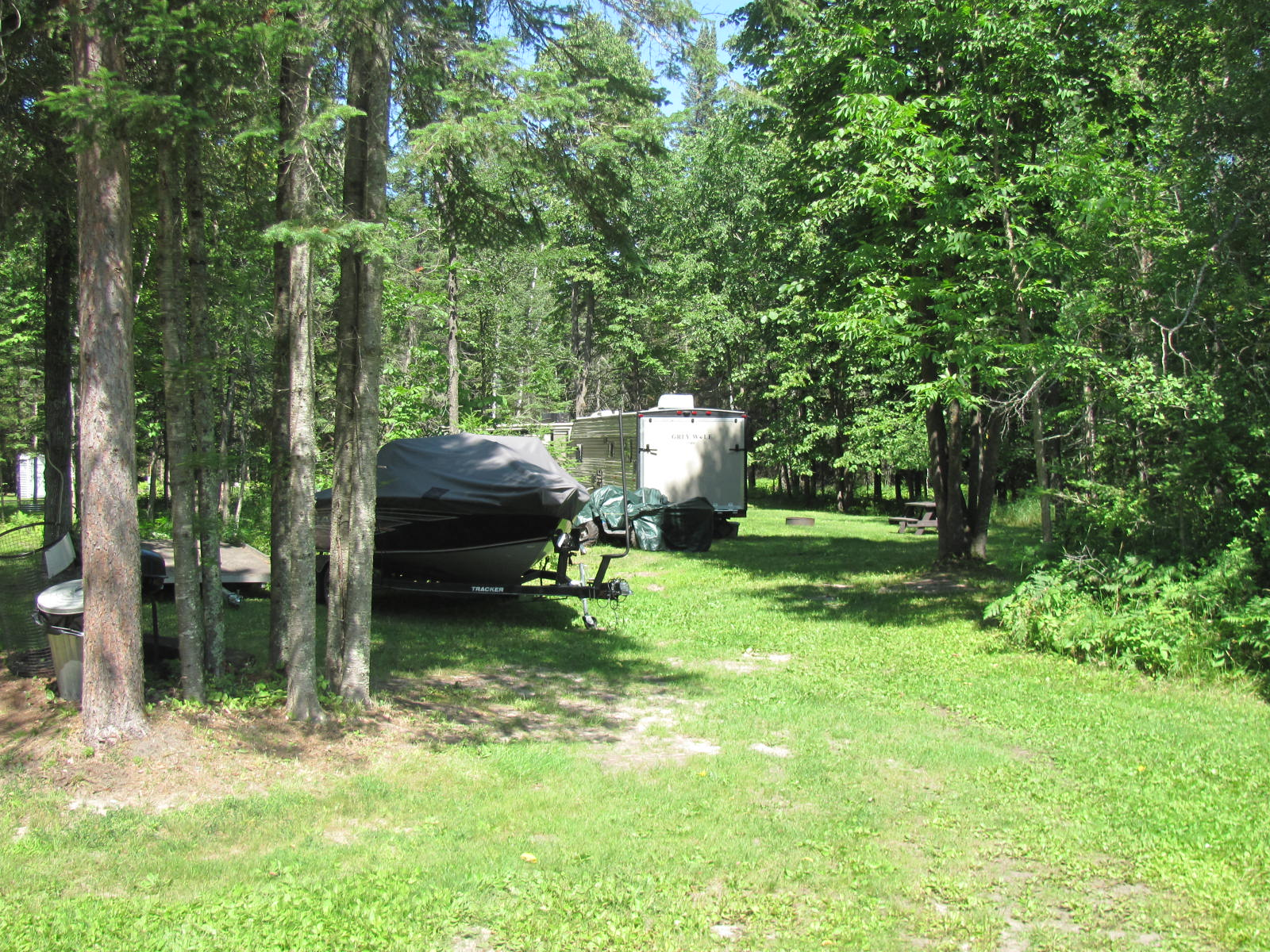Vacation RV camper and boat.